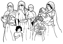 mothers and children from the bible learn to coloring