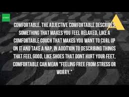Synonyms Comfort What Does The Word Comfortable Youtube