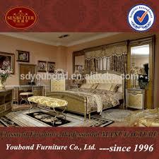 Top Quality Arabic Home Furniture Golden Luxury King Bedroom - Luxury king bedroom sets