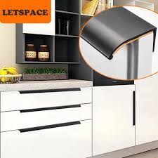 kitchen cabinet door knobs black modern simple cabinet door edge handle wardrobe drawer pulls black furniture handle zinc alloy kitchen cabinet knob 160mm