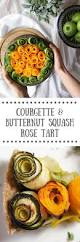 courgette and butternut squash rose tart with lemon roast potatoes