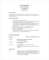 Resume Objective Statement - sle nursing student resume 8 exles in word pdf