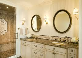 bathroom vanity backsplash ideas a small band of glass tile is pretty and cost effective bathroom