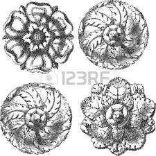 four engraved circle ornaments royalty free cliparts vectors and