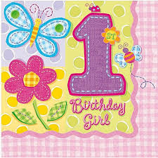 1st birthday girl hugs and stitches 1st birthday girl theme paper napkins