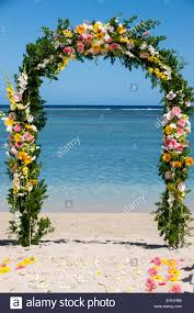 flower arch mauritius wedding flower arch by the sea stock photo royalty