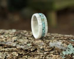 colorado wedding band elk antler and weathered whiskey barrel ring wedding band