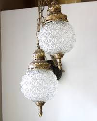 hollywood regency swag l vintage glass round globe double globe swag lighting clear glass