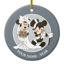 mickey minnie wedding getting married snowflake pewter