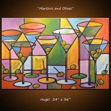 Art Painting Abstract Modern Dining Room Bar Decor Martini - Dining room paintings