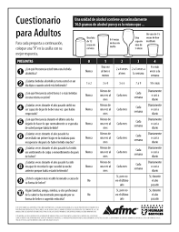 Spanish Worksheets For Adults Alcohol Questionnaire Pad 50 Sheets Spanish Afmc