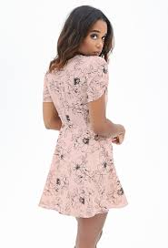 fit and flare dress forever 21 forever 21 floral fit flare dress in pink lyst