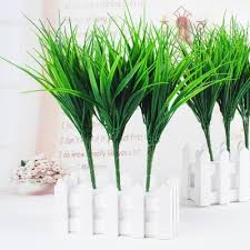 artificial flowers 6 pcs green plant leaves grass decorative flowers artificial