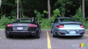 porsche 911 turbo sound audi r8 5 2 vs porsche 911 turbo s engine sounds