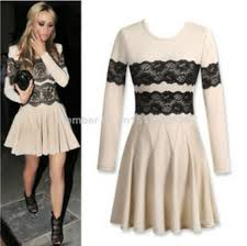 2014 new black lace long sleeve o neck women dress party evening