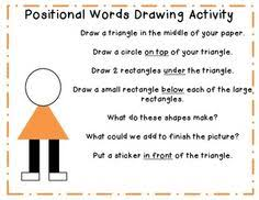 positional words kendergarten pictures positions ideas for
