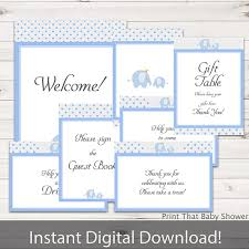 baby shower signs baby shower decorations blue elephant baby shower table signs