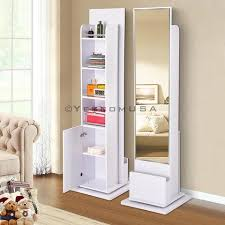 rotating storage cabinet with mirror 5 11 free standing rotating cabinet storage w mirror color opt