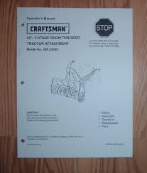 craftsman 486 24838 42 in snow thrower tractor attachment owners