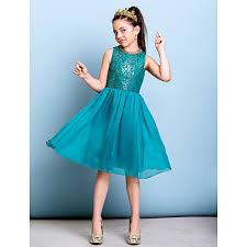 knee length chiffon sequined junior bridesmaid dress jade a