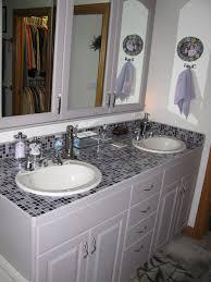 glass tile bathroom countertop room design ideas