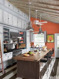 kitchen ceiling fan wooden kitchen island striped floor hanging