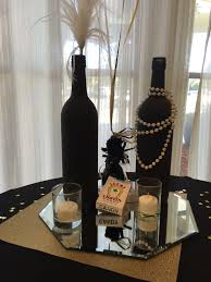 wine birthday candle painted wine bottles centerpieces 1920 u0027s great gatsby shans