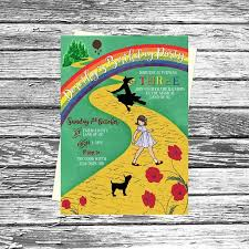 printable yellow brick road personalised wizard of oz birthday party invitations printable