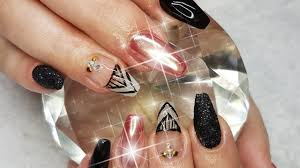 acrylic infill rose gold chrome u0026 black glitter nail design youtube