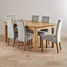 Edinburgh Extending Dining Set In Oak Dining Table  Chairs - Grey fabric dining room chairs