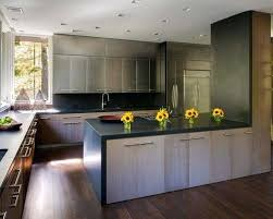 Silver Floor L Silver Kitchen Cabinets Kitchen Contemporary L Shaped Wood