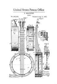 banjo patent 1882 patent print wall decor music poster music