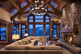 cabin style home plenty of seating in this grand lodge interior the and