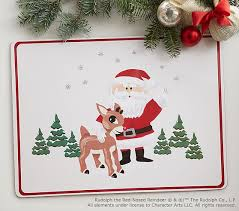rudolph red nosed reindeer placemat pottery barn kids
