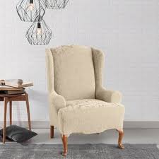 wingback chair slipcovers sure fit stretch jacquard damask wing chair slipcover free