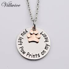 dog necklace silver images You left paw print on my heart dog necklace memorial tag cat jpg