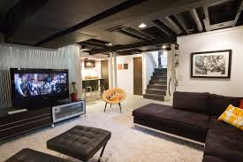 basement accent wall ideas basement industrial with counter stools