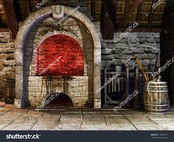 medieval blacksmiths furnace tools stock illustration 133689791