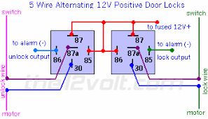 how to wire relays door locks 5 wire alternating 12 volts positive