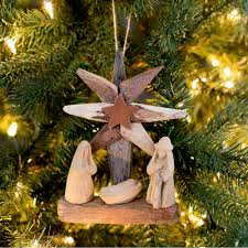 recycled driftwood nativity ornament greatergood