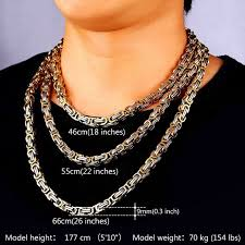 stainless steel byzantine necklace images Stainless steel and 18k gold plated jewelry 9mm wide byzantine jpg