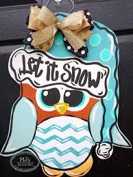 winter door hanger owl door hanger owl in a hat door hanger
