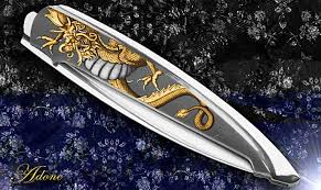 gold inlay engraving sliver knife 24k gold bulino engraved by adone