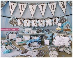 Baby Blue And Brown Baby Shower Decorations Baby Shower Printables Damask Baby Boy Brown And Blue W
