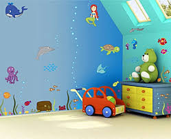 Underwater Sea Animals Kidsroomwallpaintingphoto Baby - Wall paint for kids room