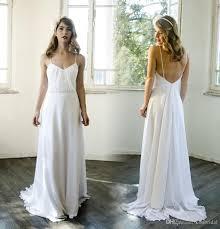 plain wedding dresses discount 2016 boho white plain wedding dresses with spaghetti