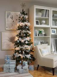 Blue White And Silver Christmas Tree - adorable pencil christmas tree ideas u2013 a festive space saving solution