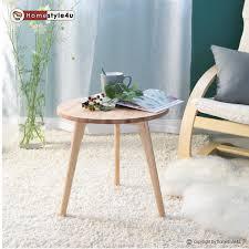 Wohnzimmertisch Transparent Beistelltisch Tisch Couchtisch Rund Holz 45cm ø Nachttisch