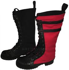 boot covers combination one black and one with leather u0026 stripes