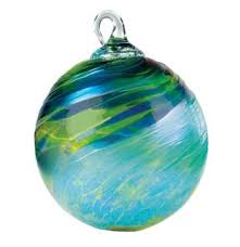 mt st helens volcanic ash blown glass ornament green